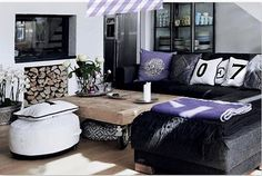 GENIUS IDEA- Tuck an #Ottoman or #Pouf under your coffee table, for extra Seating, and to introduce a #Pattern or Pop of #Color.