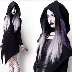 Rogue and Wolf Gothic Hoodie, Moon Seer Cardigan with oversized hood Goth Beauty, Dark Beauty, Steampunk, Dark Fashion, Gothic Fashion, Grunge Fashion, Emo Fashion, Alternative Outfits, Alternative Fashion