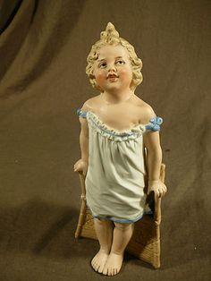 "Gebruder Heubach RARE 9"" Standing Piano Baby Girl Figurine w Chair Blue Bow | eBay"