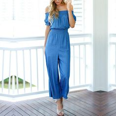 858f0197de0 2017 Summer Sexy Rompers High Waist Casual Jumpsuits Fashion Womens Slash  Neck Solid Overalls Wide Leg