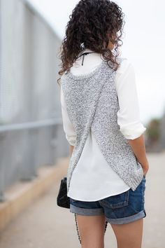 Business in Front.Party in the Back - Alterations Needed Knit Vest, Pinterest Fashion, Diy Clothing, Refashion, Fashion Advice, Casual Chic, Knitwear, Knitting Patterns, Knit Crochet