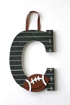 Custom Decorated Sports Letter Door Hanger: Football theme with field, brown, or baseball. Monogram Letter Wooden (Wall Hanging) on Etsy, $21.00