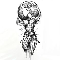 The best tattoo idea in sketch style. A man holding the whole Earth on his shoulder. This tattoo means strength, struggle and power.