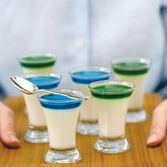 To top the panna cotta, choose brightly colored liqueurs or flavored syrups such as blue curaçao, crème de menthe, framboise, cassis,...