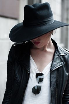 Red Reiding Hood: H&M New Icons black wide floppy hat fedora Saint Laurent look-a-like KO knock off all black everything model off duty look runwat outfit details tiny cross earrings Rayban aviator