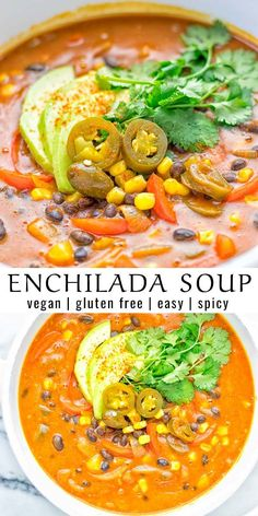 This Spicy Garlic Enchilada Soup is made in one pot, insanely delicious and super easy to make. It is vegetarian made without chicken, even naturally vegan. With the creamy sauce, this healthy recipe can also be make in an Instant Pot or crockpot. Easy Soup Recipes, Whole Food Recipes, Cooking Recipes, Easy Vegan Soup, Vegan Recipes Instant Pot, Healthy Crockpot Soup Recipes, Vegetarian Crockpot Soup, Healthy Vegan Recipes, Vegetarian Enchiladas