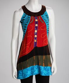 Blue & Red Yoke Tunic - Women #zulily #zulilyfinds
