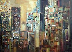 Mouse over image to zoom Have one to sell? Sell it yourself SOHO New York City 48x36 inch Oil Painting Skyline Abstract Modern Art Ermil...
