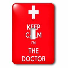 3dRose Keep calm Im the doctor. Red., Double Toggle Switch