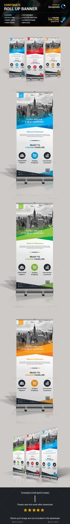 Buy Corporate Business Roll Up Banner by zeropixels on GraphicRiver. FEATURES: Easy Customizable and Editable Roll Up Banner in with bleed CMYK Color Design in 300 DPI Resolution. Pull Up Banner Design, Roll Up Design, Web Design, Page Design, Modern Design, Graphic Design, Corporate Business, Corporate Design, Business Postcards