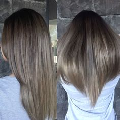 """""""Obsessed with Mel's rooty dark ash blonde ombré for the colder months! Check…"""