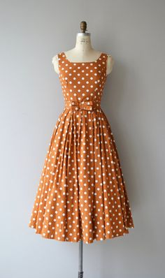 Classic crisp ocher cotton dress, 1980s does a convincing 1950s silhouette with…