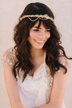 Zephyr Bridal Headband, Russian Veil, Rhinestone Chain, Bohemian Bridal Hair Piece, Wedding Headpiece, Ships in 1 Month