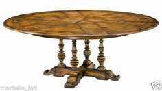 "Round Antique Styled Oak JUPE Dining Table Converts 50"" Dia New Free Shipping 