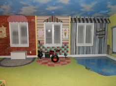 Toy Room, painted storefronts with awnings over windows...fun!