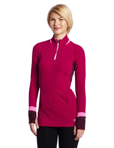 Gore Running Wear Women's Sunlight Thermo Shirt, Thai Pink/Shiraz Red, X-Small. Fashionable, tricolored and versatile. Insulating long sleeve shirt for the recreational female runner. Long, generous cut, cosy material, cuffs with thumbhole and integrated fold-out mitts give comfort and warmth. Slim fit. Thermo-stretch functional fabric. Kangaroo pocket with zipped media pocket inside. Flat-lock seams. Short front zip. Sleeve hem with handcover and thumbhole.