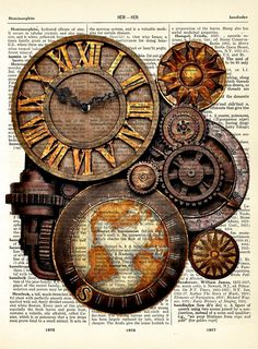 A Steampunk Style Wall Clock with World Map Vintage Dictionary Art Print 8 x 10 - With Three Printing Options BUY 2 GET 1 FREE. $7.99, via Etsy.