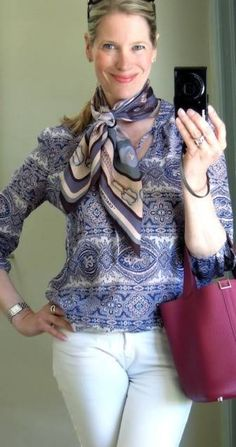 MaiTai's Picture Book: How to wear a scarf with patterned tops - part three Scarf Wearing Styles, Scarf Styles, Ways To Wear A Scarf, How To Wear Scarves, Coach Scarf, Over 50 Womens Fashion, Classic Outfits, Silk Scarves, Top Pattern
