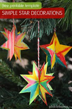 Kerst - Sterren - Knutselen met kinderen - Simple Star Decorations - with free printable template and easy instructions - Picklebums Diy Christmas Star, Christmas Decorations For Kids, Easy Christmas Ornaments, Christmas Activities For Kids, Preschool Christmas, Kids Christmas, Stars Craft, Christian Christmas, Diy Weihnachten