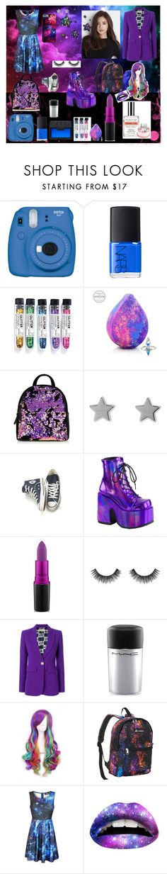 """Galaxy😈💙💜💖🏴"" by arinaepic ❤ liked on Polyvore featuring Fujifilm, NARS Cosmetics, Gucci, Converse, Demonia, MAC Cosmetics, Velour Lashes, Emilio Pucci, Demeter Fragrance Library and WithChic"