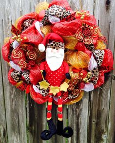 Christmas Deco Mesh Wreath, Cheetah Santa on Etsy, $97.00