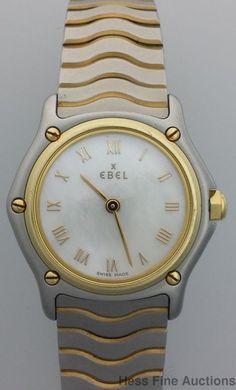 82aeaecb7b4 Ebel 18k Gold Stainless Steel Wave Factory Mop Dial Ladies Wrist Watch   EBEL Pulseiras