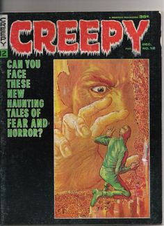 """Classic Horror Comic - Creepy 12 - Frazetta Cover  Published 1966.  Magazine size.  Color cover by Frank Frazetta  Black and white interior art by Steve Ditko, Joe Orlando, Mnny Stallman, Jerry Grandenetti, Rocco Mostroserio, Bob Jenny, Angelo Torres    Includes an adaptation of Isaac Asimov's story """"Adam Link, Robot Detective."""""""