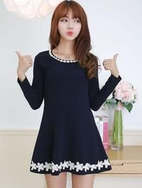 Dark Blue Daisy Lace Trimmed Long Sleeves Flippy Dress