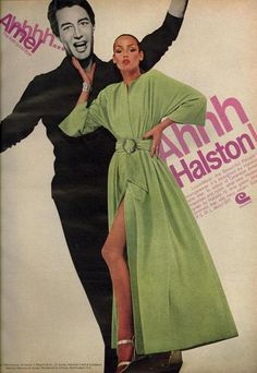 Jerry Hall wearing Halston Loungewear robe for Vogue US, October 1975 Patti Hansen, 70s Fashion, Fashion History, Vintage Fashion, Fashion Women, Bianca Jagger, Mick Jagger, Liza Minnelli, Lauren Hutton