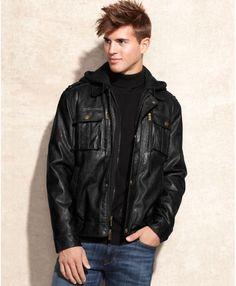 Black Dallas Removable Hooded Bib Faux Leather Jacket