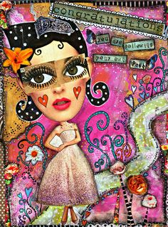 This whimsical girl mixed media collage art print features the positive quote You are following your own path, perfect as an affirmation that your