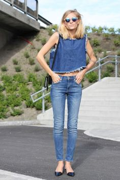 Lady denim - classic accesoires +cropped top denim