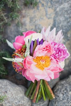 Bright, exotic bouquet: http://www.stylemepretty.com/california-weddings/2015/02/22/mad-men-themed-palm-springs-wedding/ | Photography: Marissa Maharaj - http://www.marissamaharaj.com/
