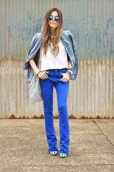 denim pants and printed jacket