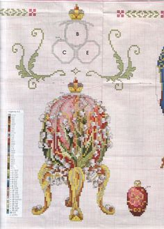 Faberge Lily of the valley egg cross stitch