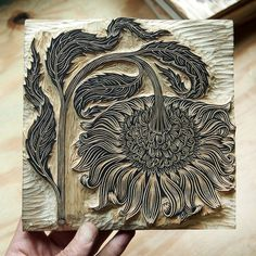 """A new B&W woodcut in progress, the """"BOWING FLOWER""""! Block size is x paper will be slightly larger. On a quick turnaround, special… Linolium, Lino Art, Linoprint, Arte Horror, Wood Engraving, Tampons, Linocut Prints, Woodblock Print, Screen Printing"""