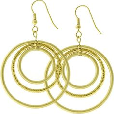 14k Gold and Matte Gold Bonded Rotating Triple Hoop Earrings in Goldtone. #mycustommade