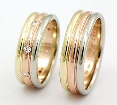 snubní prsteny složené ze tří barev zlata 025 | Zlatnický ateliér ...
