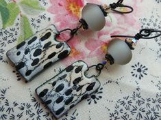 Dalmatian Dangles, Organic Boho Ceramic Earrings, Neutral Colors, One Of A Kind Artisan Made, JosephineBeads, taneres. Northernblooms