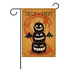 Double Sided Halloween Trick or Treat Evil Tree and Pumpkins with Bat Polyester House Garden Flag Banner 28 x 40 Inch for Anniversary Family Garden Decor -- To view further for this item, visit the image link-affiliate link.