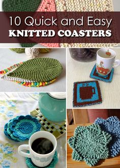 10 Quick and Easy Knitted Coasters!