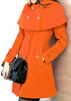 Orange Patchwork Pockets Buttons Long Sleeve Fashion Cotton Wool Coat