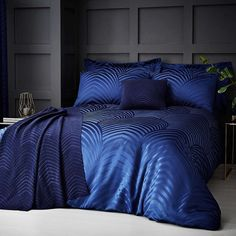 Theo Blue Jacquard Bed Linen Collection | Dunelm
