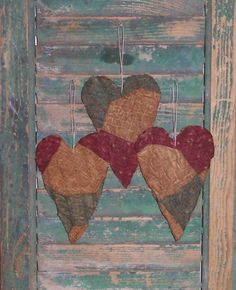 Grungy tattered hearts for your Valentine's Day decor! Handmade by Prairie Primitives Folk Art in California.