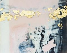 """Abstract """"Blush 2"""" Encaustic Painting, Contemporary Wall Art with pink and gold color, Encaustic Wax painting, Modern Artwork"""