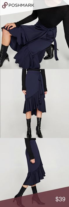 Zara Navy Ruffle Wrap Skirt So unique! Classy chic. Brand new with tags. Let me know if you have any questions! Zara Skirts High Low