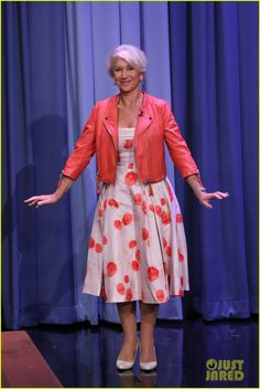 I love Helen Mirren's style.  She likes to mix it up but always appropriate for her body type/age.  Leather jacket with this full skirt dress and heels.  Great pop of color.