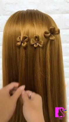 Hair tutorial:How to make a four-leaf clover hairstyle.. Hairdo For Long Hair, Bun Hairstyles For Long Hair, Front Hair Styles, Medium Hair Styles, Hair Tutorials For Medium Hair, Hairstyle Tutorials, Hair Style Vedio, Pretty Braided Hairstyles, Hair Videos