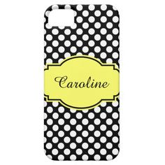 Cute Black & White Polka Dots iPhone Case, Personalize with your name on Yellow/Black Label