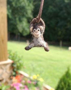 Tiny Chimpanzee necklace  needle felted от motleymutton на Etsy